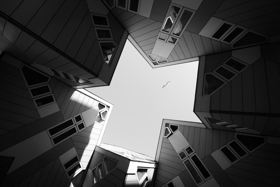 @ZW010 -2539-Kubuswoning Rotterdam zwart wit foto