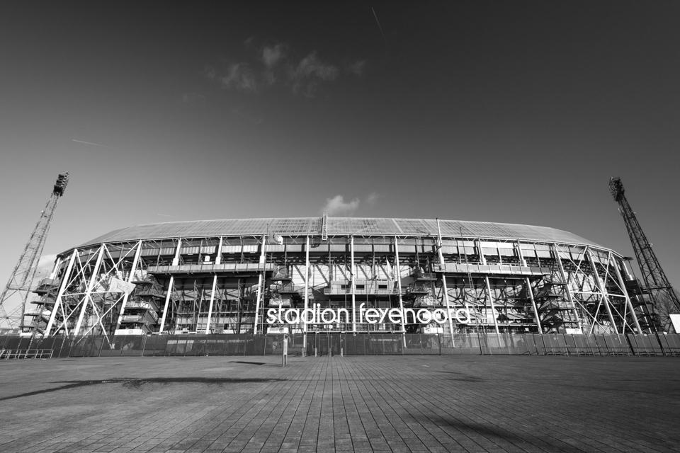 Stadion Feyenoord De Kuip Rotterdam zwart wit foto